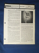SHURE 51 SONODYNE MICROPHONE DATA SPEC SHEET ORIGINAL