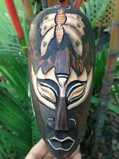 Mask Butterfly African Wood Art Hand Carved Sculpture Vintage Hanging Decor Wall