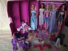 Barbie Dolls With Pink Wardrobe Carrying Case + Accessories & Clothes