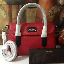 NWT Kate Spade New York Grove Court Small Leslie Bag Dynasty Red/Black MSRP $348