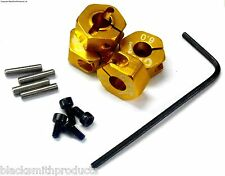 57806A 1/10 Scale RC M12 12mm Alloy Wheel Locking Hubs Adapter Nut Yellow 6mm