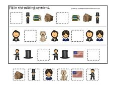 Abraham Lincoln themed Missing Pattern laminated game. 1 board, 6 pieces.