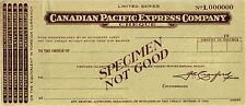 SPECIMEN, CANADIAN PACIFIC EXPRESS CO,CHEQUE