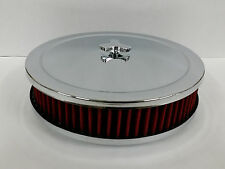 "Chrome 9 x 2  9"" x 2"" Air Cleaner W/ Washable Filter 4 Brl SBC BBC Ford Mopar V8"