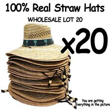 WHOLESALE LOT OF 20 Straw Hats with adjustable string ***PALM TREE BAND***