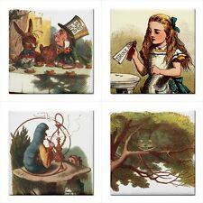 Alice In Wonderland Ceramic Color Tile Set Of 4 Decorative Backsplash Tiles Lot
