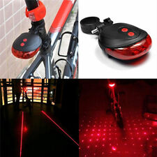 Red 2 Laser+5 LED Flashing Lamp Tail Light Rear Cycling Bicycle Safety Warning