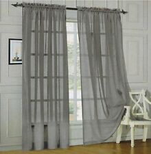 "2-Piece Sheer Voile Window Treatment Curtain Panel 95"" Long Solid Colors Panels"