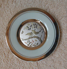 """The Art of Chokin 24 K Gold Edged 4"""" round Plate 2 Birds on a Branch"""