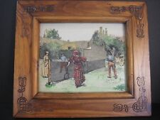 Vintage Mc Cue Etching Print And Hand Colored On Plastic Board With Wooden Frame