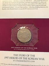 1997 Marshall Islands Heroes Of The Korean War $5.00 Coin with Display Card