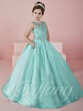 Tiffany Princess 13472 Mint Colored Fall 2016 Girls Pageant Gown Dress sz 8