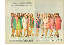 PUBLICITE ADVERTISING  1967   PRENATAL   garde robe future maman ( 2 pages)
