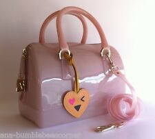 FURLA Rubber Jelly MINI 'CANDY BAG' +Charm Rose Shoulder Satchel Bag Handbag NWT