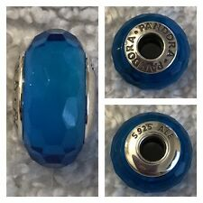PANDORA BLUE FACETED MURANO GLASS CHARM REF 791607 S925 ALE RRP £35.00