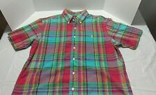 Men's Vintage Polo Ralph Lauren Plaid Short Sleeve Button Up Shirt Size Large
