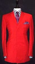LUXURY  MEN'S OZWALD BOATENG  BESPOKE COUTURE DARK RED PURPLE SUIT40R W34 L31