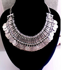 Bohemian Ethnic Tribal Retro Chunky Coins Bib Statement Pendant Necklace MWHK