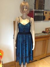 GORGEOUS TED BAKER SEQUIN DRESS GREEN WITH BLACK MESH OVER UK SIZE 8 WORN
