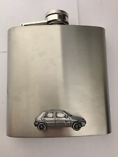 Ford Fiesta 4 Door 1989 ref85 pewter effect car 6oz Stainless Steel Hip Flask