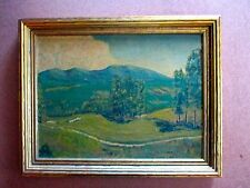 Vintage Framed Oil Landscape Painting of Golf Course on Board. Painted in 1939