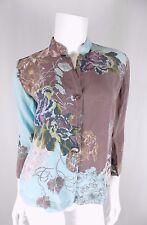 Citron Santa Monica Blue Brown Silk Asian Floral Button Front Blouse Top XS EUC