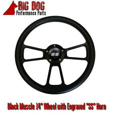 "14"" Black Steering Wheel w/ Black Chevy ""SS"" Engraved Horn Button FREE SHIPPING!"