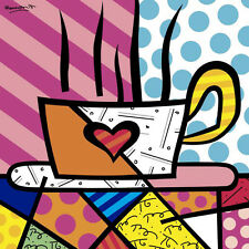 Romero Britto Latte Love Drink Coffee Kitchen Print Poster 11x14