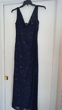 RALPH LAUREN Navy Sequined SEXY V Front & V Back Evening Dress SZ 8 $210 NWT