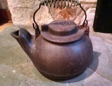 Vintage Wagner Ware Cast Iron Kettle Tea Pot swivel lid coil handle
