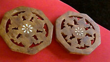 2 Asian Indian Pierced Carved Wooden Pedestals Inlaid Bone SHESHAM WOOD ROSE