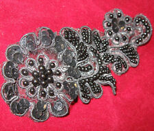 BLACK SEQUIN BEADED EMBROIDERED FLOWER APPLIQUE  2595-A