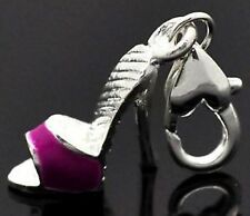 FUSCHIA & SILVER HIGH HEEL BACKLESS SHOE CLIP ON CHARM  FOR BRACELETS - NEW= S/P