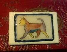 Hand painted Ceramic Art Deco style CHI,CHIHUAHUA, Dog Miniature Plaque/brooch