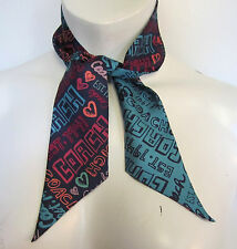 FASHIONABLY FUN  COACH SIGNATURE POPPY GRAFFITTI PONY TAIL SCARF NEW TAG