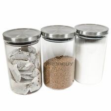 1200ml Glass Tea Coffee Sugar Storage Canisters Set Containers Jars Rice Pasta