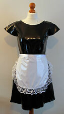 White frilly lace pvc pinny apron fancy dress sissy