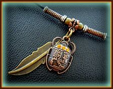 EGYPTIAN JEWELRY Pendant Necklace ART DECO Vintage look SCARAB Beetle w/ Feather