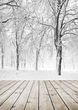 Winter Snow Photo Backdrop Wooden Floor Vinyl Photography Background Trees 5x7ft