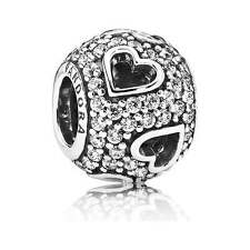 Genuine PANDORA Sterling Silver bead S925 ALE Cut Out Pave Heart Charm 791426CZ