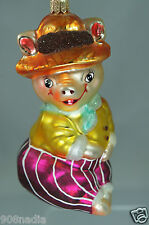 """CHRISTOPHER RADKO """"AUNT PEGGY"""" PIG IN HAT CHRISTMAS TREE ORNAMENT"""