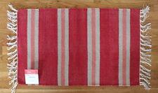 New! Red & Peach Designer Woven Stripe Cotton Rug Floor Mat Home Kitchen decor