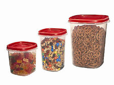 RUBBERMAID 1780200 3 PIECE CANISTER FOOD STORAGE CONTAINER SET NEW RED LIDS