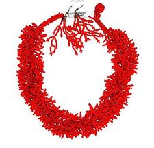 NECKLACE/EARRINGS Thousands Of Seed Beads!  Red Orange Color FAUX CORAL SET