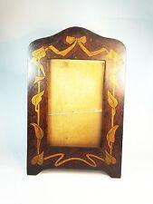 Antique Art Nouveau wooden wood painted leaf picture photo frame Arts Crafts