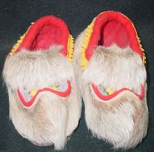 Native American Fur, Felt and Leather Moccasins. Child Size  Very Nice Design