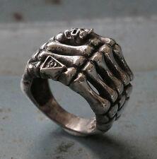 Mexican Biker Ring Skull sterling silver illuminati bone finger cross Heavy rock