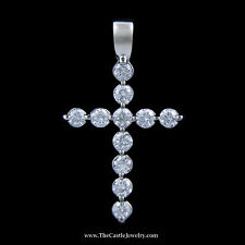 Stunning .50cttw Round Brilliant Cut Diamond Cross Pendant in18k White Gold