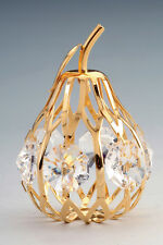 24K GOLD PLATED AUTHENTIC SWAROVSKI CRYSTAL ELEMENT PEAR ORNAMENT FIGURINE
