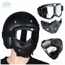 Mirrored Lens Detachable Modular Face Mask Shield Goggles For Motorcycle Helmet